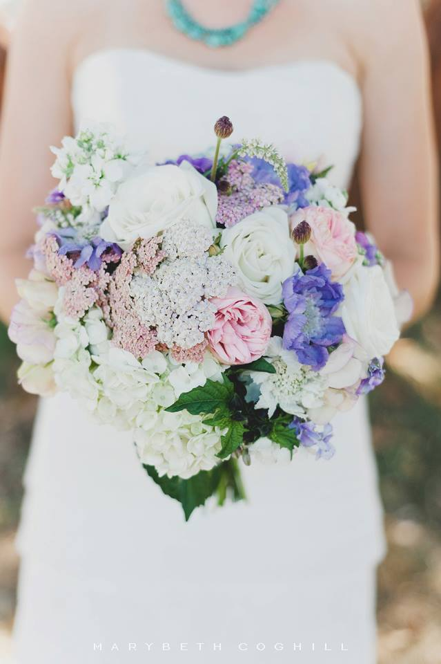 Heirloom roses, white and blue and torquoise hydrangea, stock,